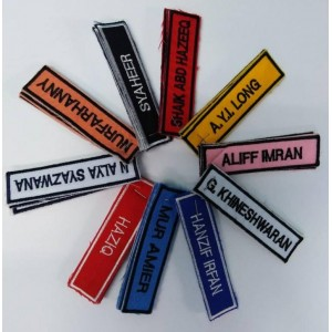KAIN NAMETAG SULAM /NAMETAG KAIN SULAM / SULAM NAMATAG  SEKOLAH / NAMATAG PELAJAR SEKOLAH 6PCS @ STUDENT CLOTH EMBROIDERY NAME TAG TANDA NAMA