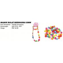 PS046 MANIK BULAT BERWARNA 8MM