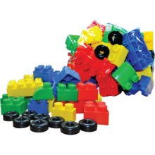 BUILDING BLOCK WITH WHEELS (+/- 70 pcs)
